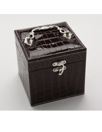 Fashion Brown Portable Crocodile Leather Three-layer Jewelry Box
