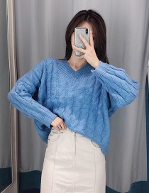 Fashion Blue Mohair Wool Sweater
