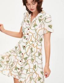 Fashion White Printed Lap Chain Skirt
