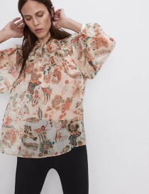 Fashion Color Laminated Flower Print Shirt