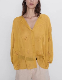 Fashion Yellow Embroidered Shirt