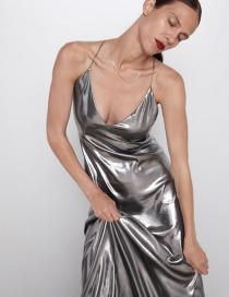 Fashion Silver Metallic Sling Dress