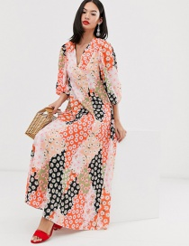 Fashion Color Daisy Color Matching Print Dress