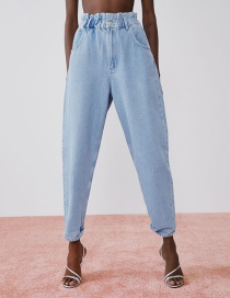 Fashion Blue Paper Bag Jeans