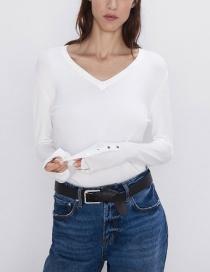 Fashion White V-neck Long-sleeved Sweater