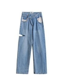 Fashion Blue Washed White Pocket Slanted Side Cut Jeans