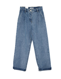 Fashion Jean Blue Washed High Waist Pleated Straight Jeans
