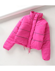 Fashion Rose Pink Reflective Strip Short Quilted Jacket