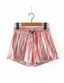 Fashion Rose Powder Solid Color Lace Straight Shorts