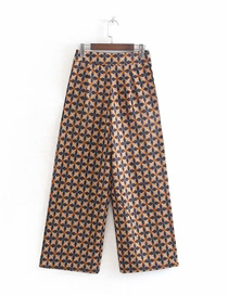 Fashion Brown Plaid Geometric Flower Print Straight Pants