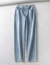 Fashion Light Blue Washed Waist Jeans
