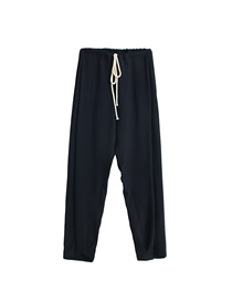Fashion Black Pure Color Hemp Straight Leg Pants