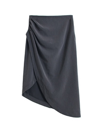 Fashion Gray Pleated Side Slit Irregular Skirt