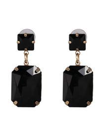 Fashion Black Geometric Diamond Stud Earrings