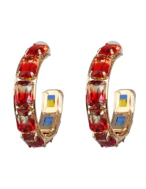 Fashion Red Colored Gemstone Large C-shaped Earrings