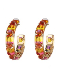 Fashion Pink Colored Gemstone Large C-shaped Earrings