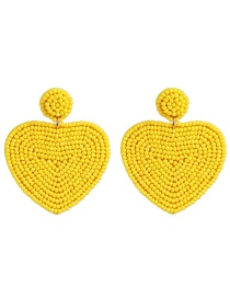 Fashion Yellow Heart-shaped Rice Beads Double-sided Earrings