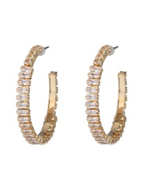 Fashion Gold C-shaped Diamond Stud Earrings
