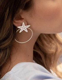 Fashion Silver Starfish Big Circle Earrings