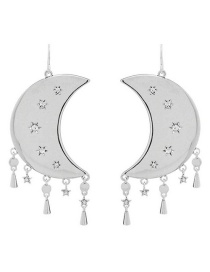 Fashion Silver Moon Tassel Earrings