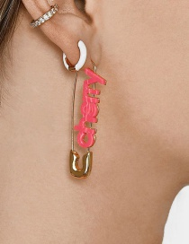 Fashion Pink Gold-plated Pin Acrylic Earrings