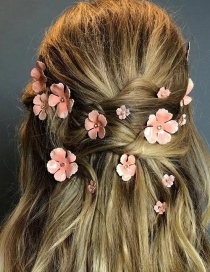 Fashion Pink Gold-plated Flower Hair Clip Set