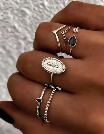Fashion Silver Alloy Ring 6 Piece Set