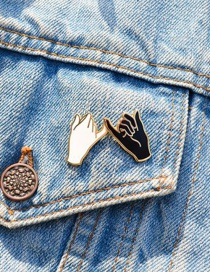 Fashion Black And White Palm Backpack Drop Oil Brooch