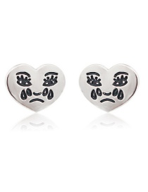 Fashion Silver Halloween Grimace Earrings