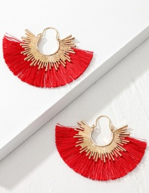 Fashion Red Alloy Fan-shaped Tassel Earrings