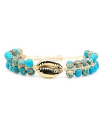 Fashion Green Woven Woven Turquoise Leather Rope Shell Bracelet  Beads