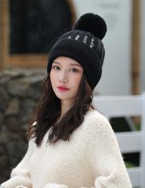 Fashion Black Double Layer Plus Fluffy Ball Wool Cap