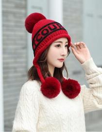 Fashion Red Wine English Alphabet Three Hair Ball Plus Fleece Cap