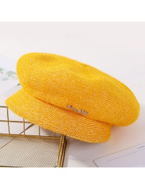 Fashion Yellow Plush Earmuffs Knit Cap