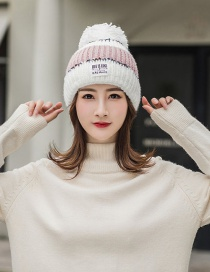 Fashion White Color Matching Knitted Wool Cap
