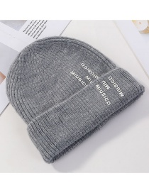 Fashion Gray Letter Knit Wool Hat