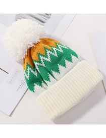 Fashion White Color Matching Double Wool Cap