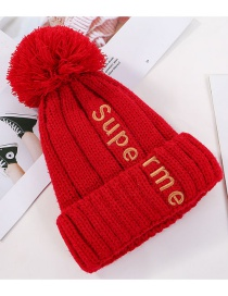 Fashion Red Letter Embroidery And Velvet Hat