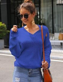Fashion Blue V Collar Hole Puff Sleeve Short Sweater