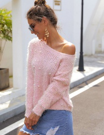 Fashion Pink Pearl Round Neck Knit Cropped Sweater