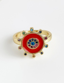 Fashion Red Copper Inlaid Zircon Sun Ring