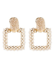 Fashion Gold Alloy Square Pearl Earrings