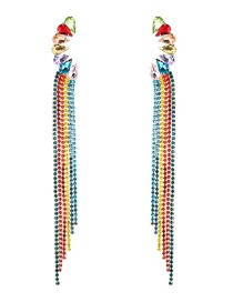 Fashion Color S925 Silver Needle Acrylic Studded Tassel Earrings  Alloy