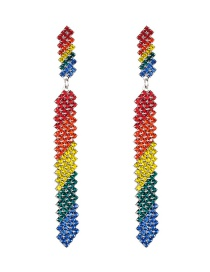 Fashion Color Multi-layer Long Strips Of Acrylic Diamond Earrings  Alloy