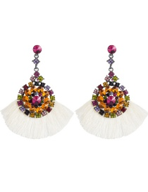 Fashion White Multi-layer Acrylic Diamond Round Floral Fringe Earrings  Alloy