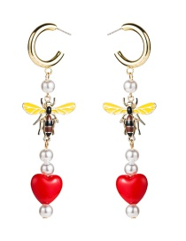 Fashion Red Imitation Pearl Resin Love Alloy Drop Oil Bee Earrings  Alloy