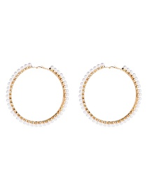 Fashion 8th Gold Big Circle With Pearl Earrings  Alloy