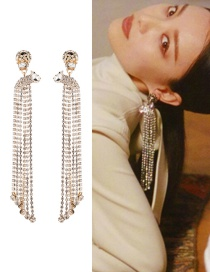 Fashion Gold Multi-layer Acrylic Studded Tassel Earrings  Alloy