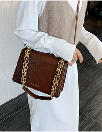 Fashion Brown Letter Stone Pattern Single Crossbody Bag