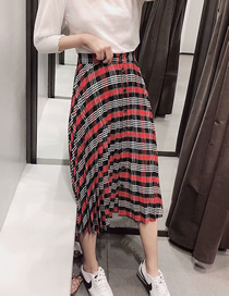 Fashion Red Plaid Plaid Printed Pleated Single-breasted Skirt